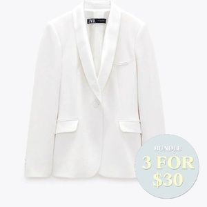 White Zara blazer small open single button